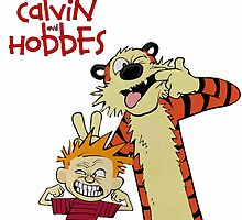 Calvin and hobbes laughing Moment by EsttelArt