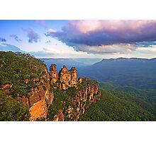 3 Sisters sunset, Katoomba Photographic Print