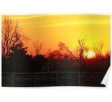 Sunset Over the Farm Poster