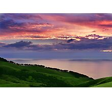 Sunset over emerald hills Photographic Print