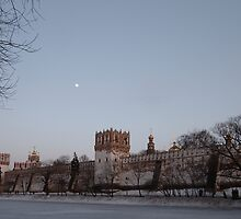 Novodevichy Convent at dusk by offwhitedog