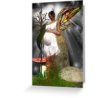 Baby Shower Card - African American Pregnant Fairy Greeting Card