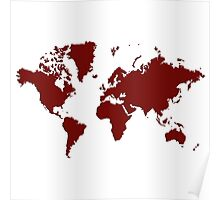 World With No Borders - burgundy Poster