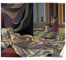 sleeping queen in bed with dog  Poster
