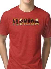 Florida tropical palm trees word art Tri-blend T-Shirt