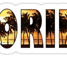 Florida tropical palm trees word art Sticker