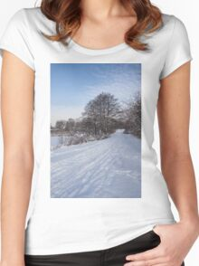 A Pale Blue Snowday  Women's Fitted Scoop T-Shirt