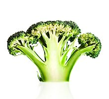 Broccoli cutaway on white by johanswanepoel