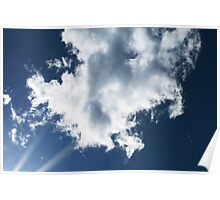 Sun Rays Into The Clouds Poster