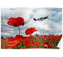 Spitfire Over The Poppy Poster