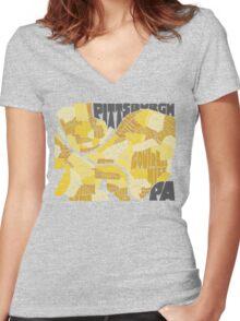 Pittsburgh Neighborhood Map Women's Fitted V-Neck T-Shirt
