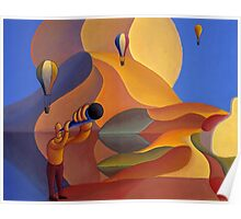 Dreamscape with balloons and musician Poster