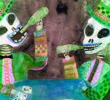 The Gamblers -  Day of the Dead  Inspired Folk Art Sticker