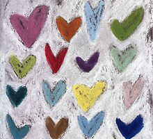 Happy Hearts I by Tine  Wiggens