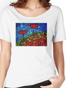 The Roots Of Love Run Deep - Colorful Mosaic Poppy Art Women's Relaxed Fit T-Shirt