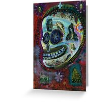 White Flower Covered Sugar Skull painting Greeting Card