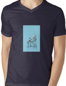 Confused Skeleton Mens V-Neck T-Shirt