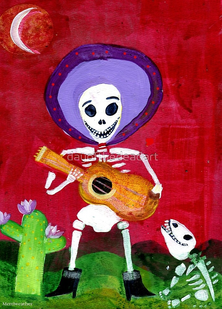 Mariachi Day of the Dead Skeleton  by dayofthedeadart