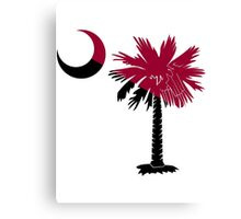 Garnet and Black Palmetto Moon Canvas Print