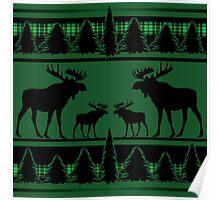 Rustic green black plaid moose Poster