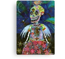 Angel Gothic Girl Skeleton - Day of the Dead print Canvas Print