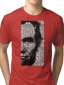 Abraham Lincoln - An American President Stone Rock'd Art Print Tri-blend T-Shirt