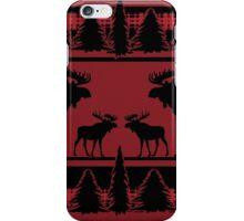 Red black rustic moose plaid pattern iPhone Case/Skin