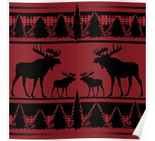 Red black rustic moose plaid pattern Poster