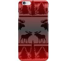 Red black fade rustic moose pattern iPhone Case/Skin