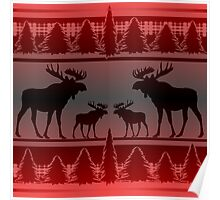 Red black fade rustic moose pattern Poster