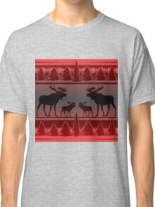 Red black fade rustic moose pattern Classic T-Shirt