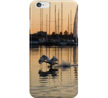 The Golden Takeoff - Swan, Sunset and Yachts at the Marina  iPhone Case/Skin