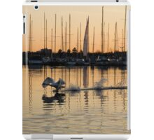 The Golden Takeoff - Swan, Sunset and Yachts at the Marina  iPad Case/Skin