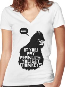 Monkey Women's Fitted V-Neck T-Shirt
