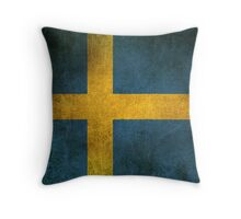 Old and Worn Distressed Vintage Flag of Sweden Throw Pillow