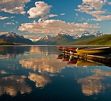 Boats at Lake McDonald, Glacier National Park by Gary Lengyel