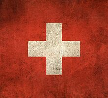 Old and Worn Distressed Vintage Flag of Switzerland by Jeff Bartels