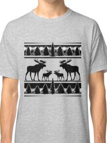 Black white rustic moose pattern Classic T-Shirt