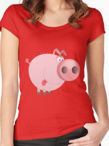 Funny joking pig  Women's Fitted Scoop T-Shirt