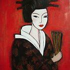 Geisha in Butterfly Kimono by Denise Daffara