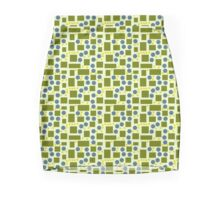 Olive Green and Blue Pattern Pencil Skirt