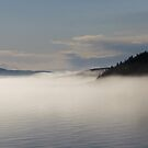 Mists over Pic Island off the shore of Marathon Ontario Canada by loralea