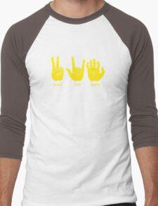 Peace Love Baylor [gold/white] Men's Baseball ¾ T-Shirt