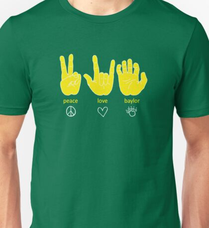 Peace Love Baylor [gold/white] Unisex T-Shirt