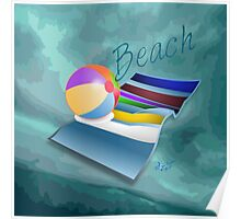 Beach Fun Green Abstract Poster