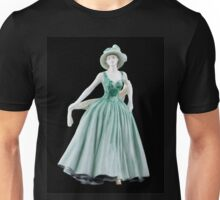 Bone China Figurine wearing a Green Dress Unisex T-Shirt