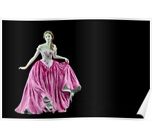 Bone China Figurine Wearing a Pink Dress Poster