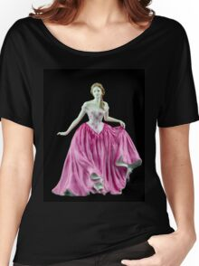Bone China Figurine Wearing a Pink Dress Women's Relaxed Fit T-Shirt