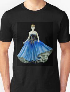 Bone China Figurine wearing a Blue Dress Unisex T-Shirt