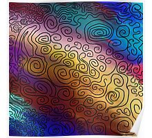 black on colored zen swirls Poster